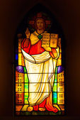 Stained glass depicting Jesus Christ in the church. — Stock Photo