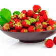Strawberry in bowl isolated on white background  — Stock Photo