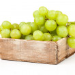 Green grapes in wooden box, Isolated on white backgroun — ストック写真