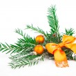 Covered with snow branch of a Christmas tree and ball on snow ba — Stock Photo #33177225