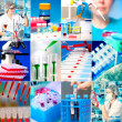 Stock Photo: Work in microbiology laboratory, medical research set