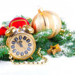Christmas clock with festive decorations on snow background — Stock Photo