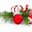 Stock Photo: Christmas bauble with gift box and decorations, on white backgro