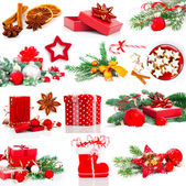 Christmas decoration set, isolated on white — Stok fotoğraf