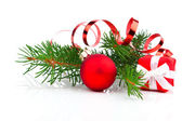 Christmas bauble with gift box and decorations, on white backgro — Fotografia Stock