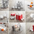 Collage of christmas photos over grey wood background  — Stock Photo