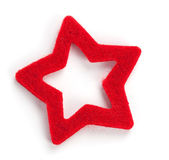 Red star shaped christmas decoration, on white — Stock Photo