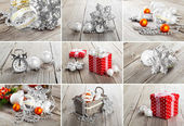 Colagem de fotos de natal sobre fundo cinza de madeira — Foto Stock