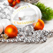 Christmas decoration on wooden background — Stock Photo #35230785
