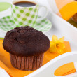Muffin with coffee cup, for breakfast — Stock Photo