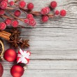 Christmas decoration on wood background, with free space for you — Stock Photo #35240359