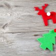 Christmas decoration on wood background, with free space for you — Foto de Stock