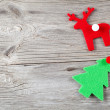 Christmas decoration on wood background, with free space for you — Stockfoto