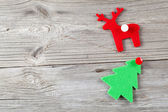 Christmas decoration on wood background, with free space for you — Stock Photo