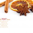 Dry orange, cinnamon and Star Anise with copy space, on white ba — Stock Photo #35508947