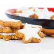 Christmas cinnamon star cookies isolated on white — Stock Photo