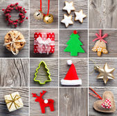 Christmas decoration set, on wooden background — Stock Photo