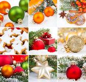 Christmas decoration set, isolated on white — Stock Photo