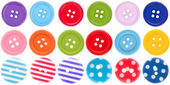 Collection of various sewing button on white background. each on — Stock Photo