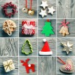 Christmas decoration set,  on wooden background — Stok fotoğraf