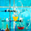Stock Photo: Glass laboratory apparatus with liquid samples