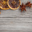Dry orange, cinnamon and Star Anise with copy space, on wooden b — Stock Photo