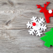Christmas decoration on wood background, with free space for you — ストック写真