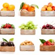 Set of orange, tangerine, apricot, strawberry, grape, cherry, nu — Stock Photo