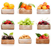 Set of orange, tangerine, apricot, strawberry, grape, cherry, nu — Stok fotoğraf