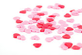 Red hearts with white background — Stock Photo