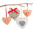 Set of hearts shaped decoration, over white background — Stock Photo #39508975