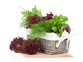 Green herbs in braided basket isolated on white background — Stock Photo
