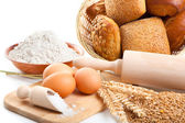 Ingredients for homemade bread, isolated on a white background — Stock Photo