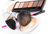 Compact powder and black brush isolated — Stock Photo
