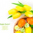 Easter eggs in a basket with yellow tulips flowers, on a white b — Stock Photo