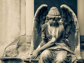 Angel statue on Cemetery in Europe — Stock Photo