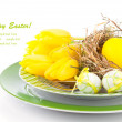 Easter eggs in a plate, on a white background — Stock Photo #41395121
