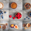 Collection of different spices and berry on wooden background — Stock Photo