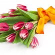 Bouquet of beautiful tulips with bow-knot. March 8, valentine's  — Stock Photo #42707935