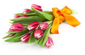 Bouquet of beautiful tulips with bow-knot. March 8, valentine's  — Stok fotoğraf