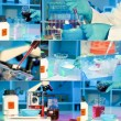 Researchers work in modern scientific lab, collage. Preparation — Stock Photo