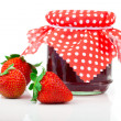 Strawberry jam and fresh berries isolated on white — Stock Photo #45840199