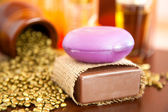 Closeup of natural handmade soaps. Chocolate and lavender — Stock Photo