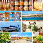 Set of Istrian, Croatia. Adriatic landscape. Popular places and  — Stockfoto