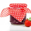 Strawberry jam and fresh berries isolated on white — Stock Photo #48421443