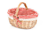 Empty wicker basket with red linen lining, isolated on white bac — ストック写真