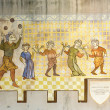 Stockfoto: Carcassonne history wall painting