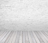 Interior room with white brick wall and wooden floor — Foto Stock