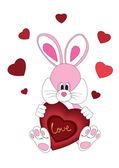 Romantic rabbit with heart — Stock Vector