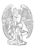 Angel in love contour — Stock Vector